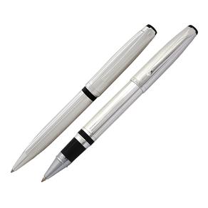 conjunto-caneta-crown-chaplin-esferografica-e-rollerball-prata-de-frente